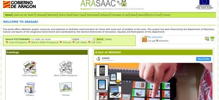 Arasaac.org, progetto per la Comunicazione Aumentativa Alternativa.