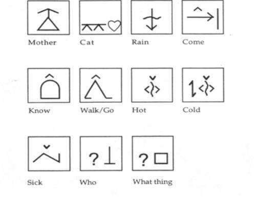 Alcuni simboli di Comunicazione Aumentativa e Alternativa di tipo BLISS.
