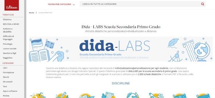 Pagina web Erickson dove scaricare schede didattiche semplificate per la scuola media.