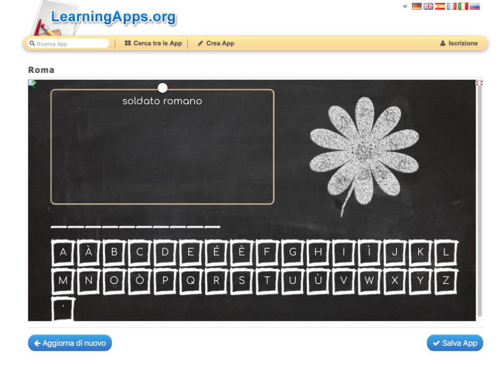 Screenshot di un esercizio interattivo costruito con Learningappps.org